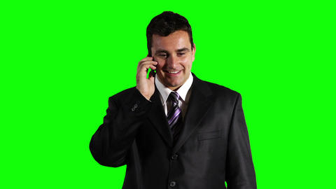 Young Businessman Cell Phone Good News Greenscreen 42 Stock Video Footage