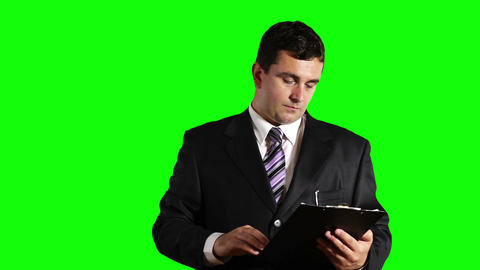 Young Businessman Checking and Signs Contract Greenscreen 30 Stock Video Footage
