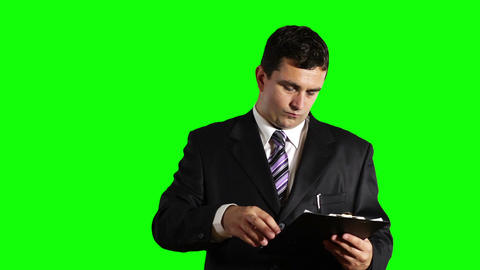 Young Businessman Checking and Signs Contract Greenscreen 30 Footage