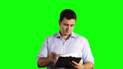 Young Businessman Checking Bad Contract Greenscreen 49 Stock Video Footage