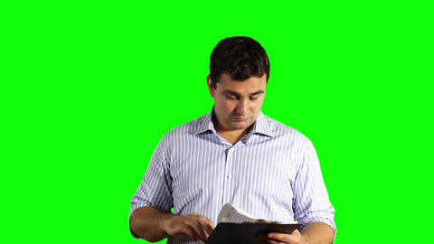 Young Businessman Checking Bad Contract Greenscreen 49 Footage