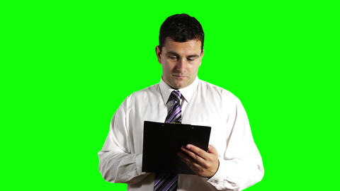 Young Businessman Checking Contract Greenscreen 7 Stock Video Footage