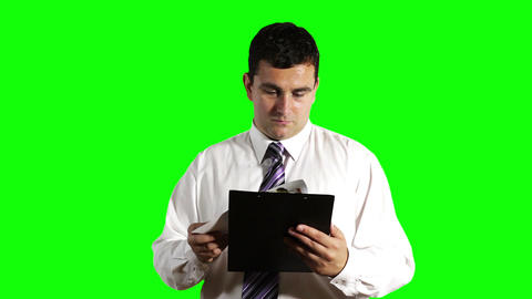 Young Businessman Checking Contract Greenscreen 7 Footage