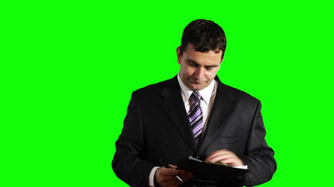 Young Businessman Checking Contract Greenscreen 31 Stock Video Footage
