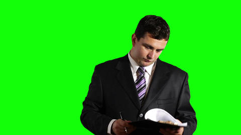 Young Businessman Checking Contract Greenscreen 31 Footage
