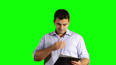Young Businessman Checking Contract Greenscreen 48 Stock Video Footage