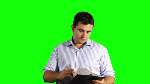 Young Businessman Checking Contract Greenscreen 48 Footage