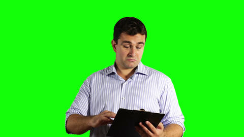 Young Businessman Checking Good Contract Greenscreen 50 Stock Video Footage