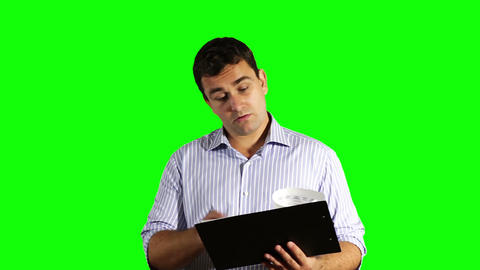 Young Businessman Checking Good Contract Greenscreen 50 Footage