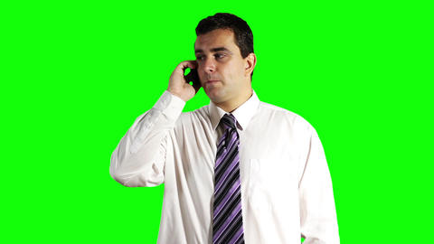 Young Businessman Getting Good News Greenscreen 9 Stock Video Footage