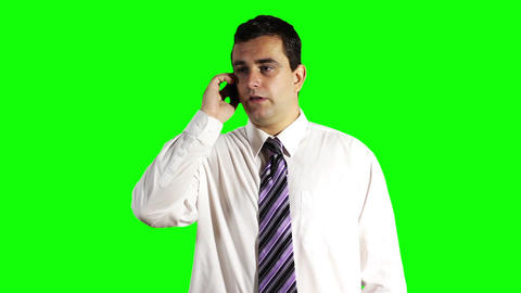 Young Businessman Getting Good News Greenscreen 9 Footage