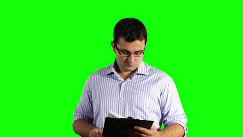 Young Businessman Glasses Checking Contract Greenscreen 49 Stock Video Footage