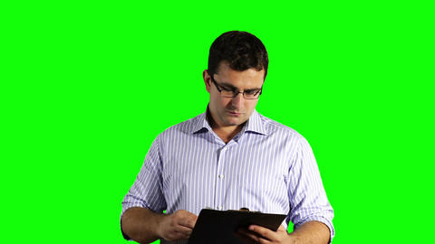 Young Businessman Glasses Checking Contract Greenscreen 49 Footage