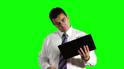 Young Businessman Happy with Contract Greenscreen 11 Stock Video Footage