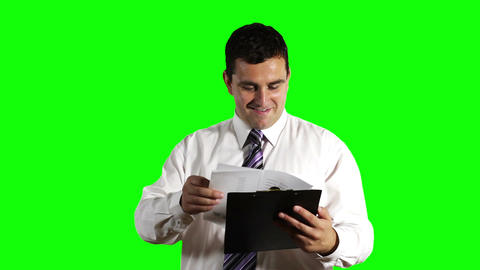 Young Businessman Happy with Contract Greenscreen 11 Footage