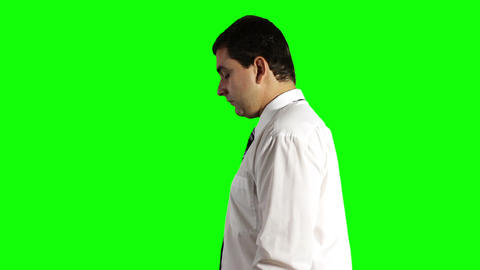 Young Businessman Looking Down Greenscreen 13 Stock Video Footage