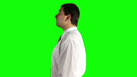 Young Businessman Looking Up Greenscreen 14 Stock Video Footage