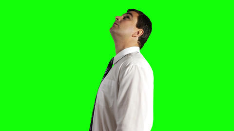 Young Businessman Looking Up Greenscreen 14 Footage
