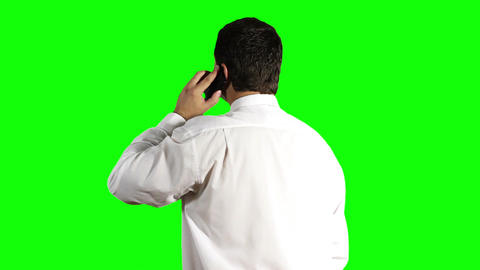Young Businessman Phone Back Greenscreen 12 Stock Video Footage