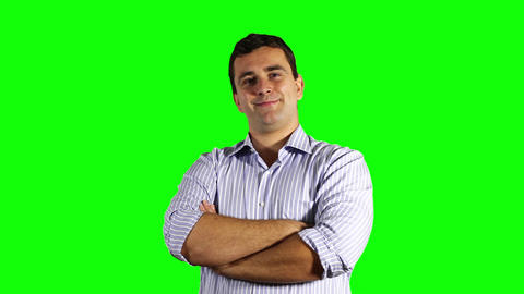 Young Businessman Smiling at the Camera Greenscreen 52 Stock Video Footage