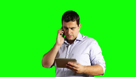 Young Businessman Tablet PC and Cell Phone Broken... Stock Video Footage
