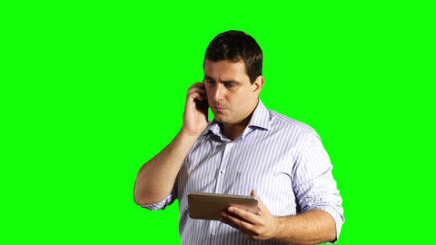 Young Businessman Tablet PC and Cell Phone Broken Greenscreen 45 Footage