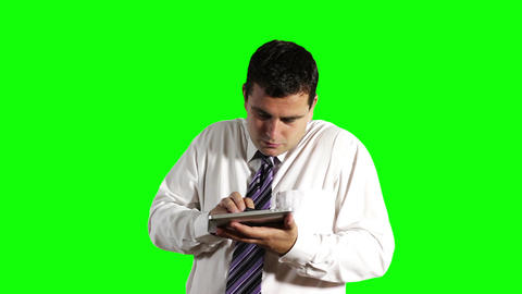 Young Businessman Tablet PC and Cell Phone Greenscreen 7 Stock Video Footage