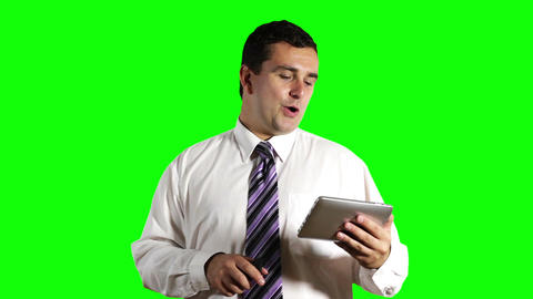 Young Businessman Tablet PC and Cell Phone Greenscreen 10 Stock Video Footage