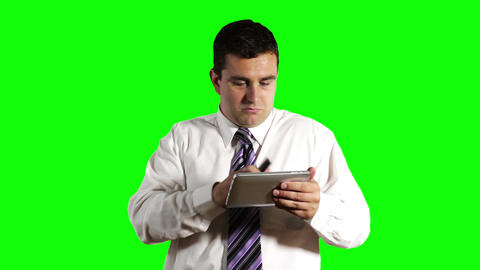 Young Businessman Tablet PC and Cell Phone Greenscreen 12 Footage