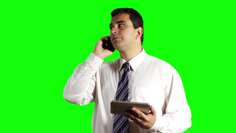 Young Businessman Tablet PC and Cell Phone Greenscreen 14 Footage