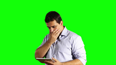 Young Businessman Tablet PC Bad News Greenscreen 41 Footage
