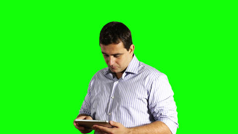Young Businessman Tablet PC Bad News Greenscreen 41 Stock Video Footage
