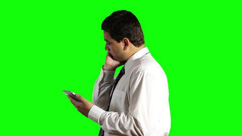 Young Businessman Tablet PC Getting Bad News Greenscreen 6 Stock Video Footage