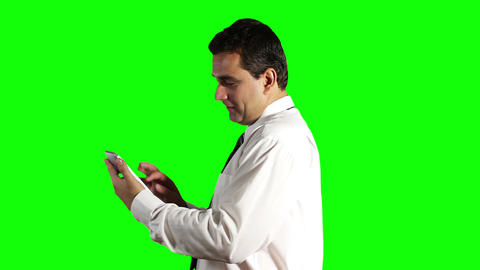 Young Businessman Tablet PC Getting Good News Greenscreen 5 Stock Video Footage