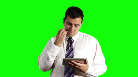 Young Businessman Tablet PC Greenscreen 1 Stock Video Footage