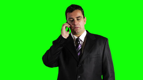 Young Businessman Talking Cell Phone Greenscreen 23 Stock Video Footage