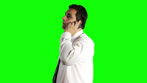 Young Businessman Talking on Cell Phone Greenscreen 10 Stock Video Footage