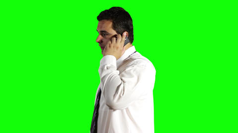 Young Businessman Talking on Cell Phone Greenscreen 10 Footage