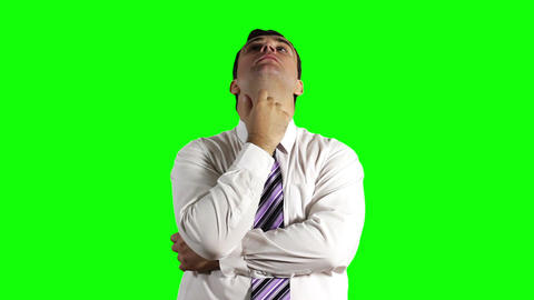 Young Businessman Thinking Greenscreen 16 Footage