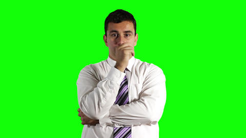 Young Businessman Thinking Greenscreen 16 Stock Video Footage