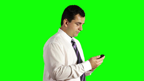 Young Businessman Touchscreen Getting Good News Phone... Stock Video Footage