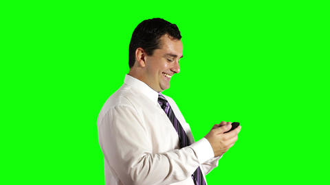 Young Businessman Touchscreen Getting Good News Phone Greenscreen 7 Footage