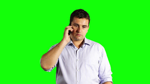 Young Businessman Touchscreen Phone Bad News Greenscreen 38 Stock Video Footage