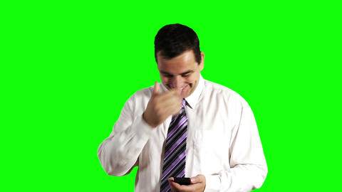 Young Businessman Touchscreen Phone Getting Good News Greenscreen 2 Footage