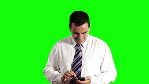 Young Businessman Touchscreen Phone Getting Good News... Stock Video Footage