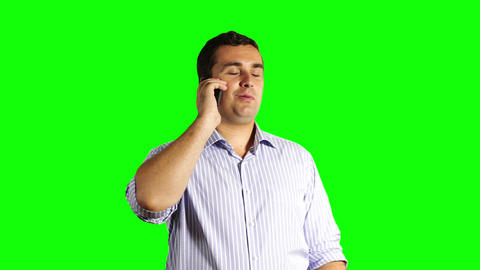 Young Businessman Touchscreen Phone Great News Greenscreen 37 Footage