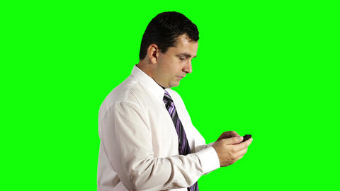 Young Businessman Touchscreen Phone Greenscreen 6 Footage