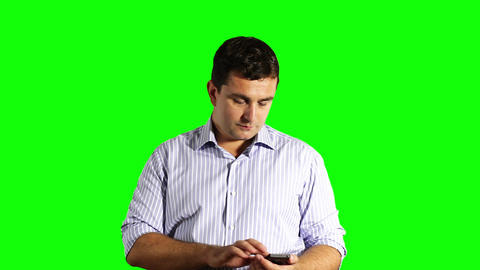 Young Businessman Touchscreen Phone Greenscreen 34 Stock Video Footage