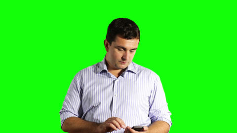 Young Businessman Touchscreen Phone Greenscreen 34 Footage