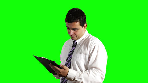 Young Businessman Unhappy with Contract Greenscreen 9 Stock Video Footage